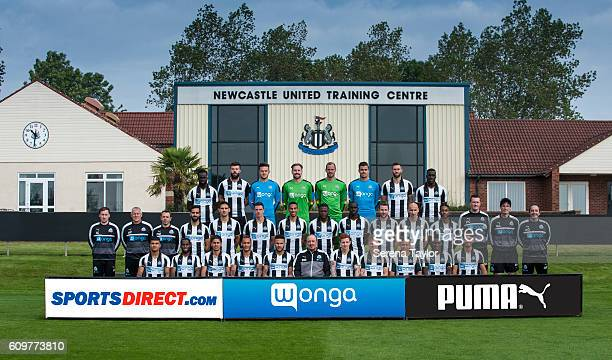 Newcastle United Players and Technical Staff seen Bottom row LR DeAndre YedlinVurnon AnitaAyoze PerezYoan GouffranJamaal LascellesNewcastle United's...