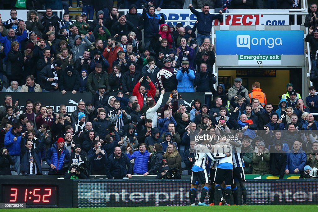 Newcastle United players celebrates a goal from Aleksandar Mitrovic in front of the home crowd during the Barclays Premier League match between Newcastle United FC and West Bromwich Albion FC at St James' Park on February 6, 2016 in Newcastle Upon Tyne, England.