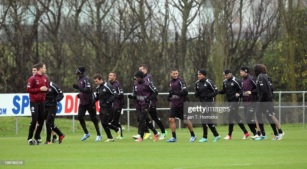 Newcastle United players during a training session at the Little Benton training ground on November 21, 2012, in Newcastle upon Tyne