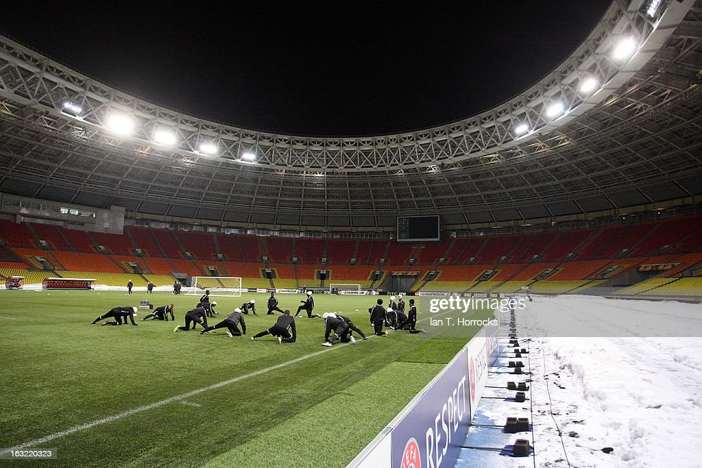 Newcastle United players warm up during a session in sub zero temperatures, ahead of their UEFA Europa League round of 16 first leg match against Anzhi Makhachkalaat, at the Luzhniki Stadium on March 6, 2013 in Moscow, Russia.