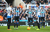 Newcastle United playes show their dejection after Bournemouth's first goal during the Barclays Premier League match between Newcastle United and AFC...
