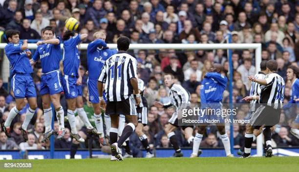 Newcastle United 's Laurent Robert free kick clears Chelsea's wall but misses the goal during the Barclays Premiership match at Stamford Bridge THIS...