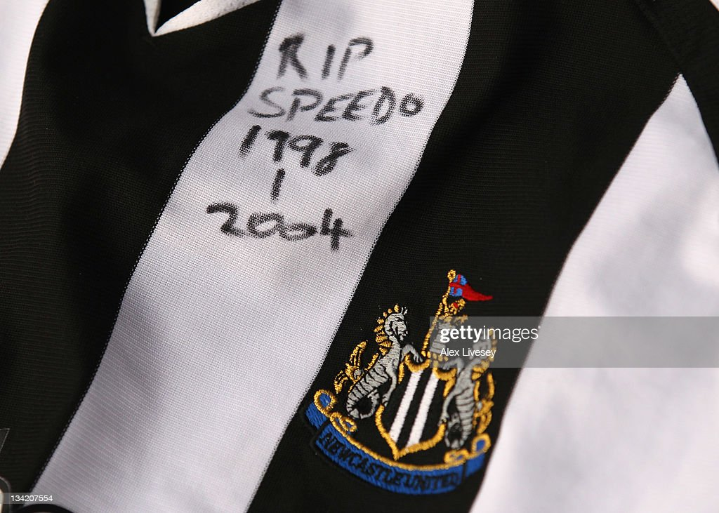 A Newcastle United shirt is seen amongst tributes to footballer and ex Bolton Wanderers player Gary Speed outside the Reebok Stadium the home ground of Bolton Wanderers FC on November 28, 2011 in Bolton, United Kingdom.