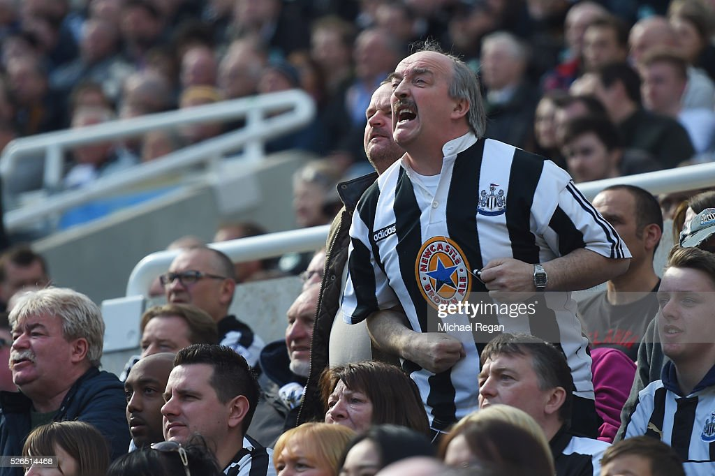 Newcastle United supporter reacts during the Barclays Premier League match between Newcastle United and Crystal Palace at St James' Park on April 30, 2016 in Newcastle upon Tyne, England.