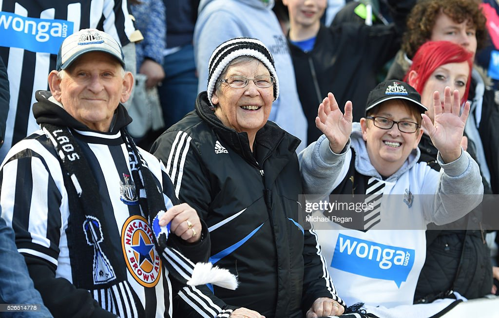 Newcastle United supporters are seen prior to the Barclays Premier League match between Newcastle United and Crystal Palace at St James' Park on April 30, 2016 in Newcastle upon Tyne, England.