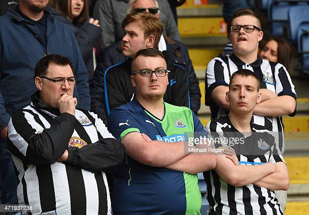 Newcastle United supporters show dejected during the Barclays Premier League match between Leicester City and Newcastle United at The King Power...