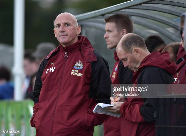 Newcastle United u18 manager Dave Watson watches from the sidelines during the Super Cup NI u18 tournament group game between Newcastle United u18's...