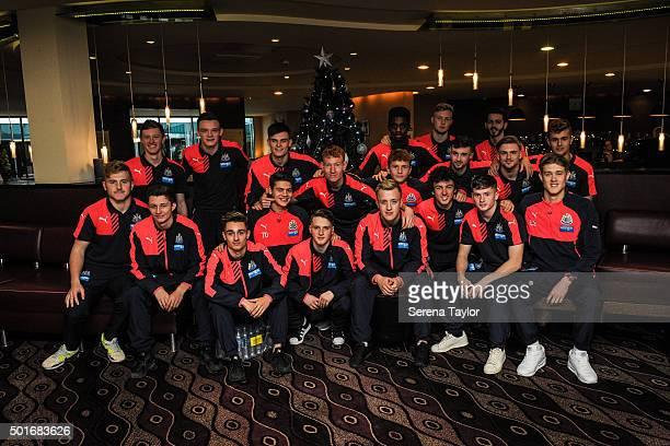 ILKESTON ENGLAND DECEMBER Newcastle United U18 Players seen LR Ben Woolston Owen Gallagher Sean Longstaff Owen Bailey Lewis Suddick Dan Ward Lewis...