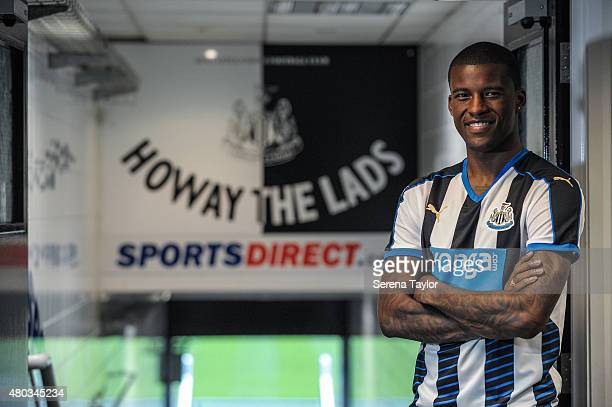 Newcastle United unveil summer signing Georginio Wijnaldum standing in the tunnel at StJames' Park on July 10 in Newcastle upon Tyne England
