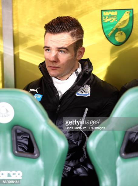 Newcastle United's Adam Armstrong on the bench