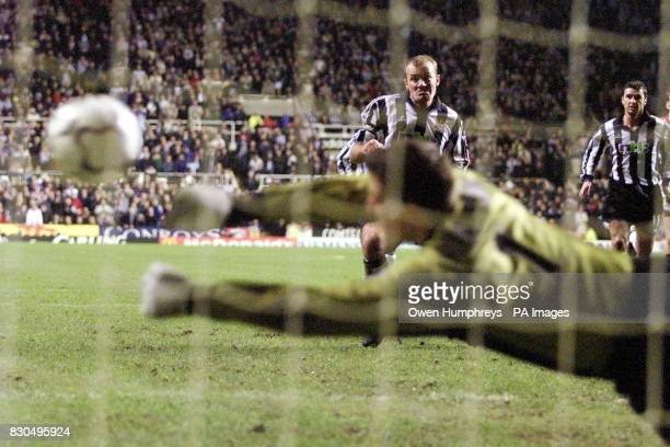 LEAGUE Newcastle United's Alan Shearer has his penatly kick saved by Sunderland goalkeeper Thomas Sorensen during the FA Premiership match at St...