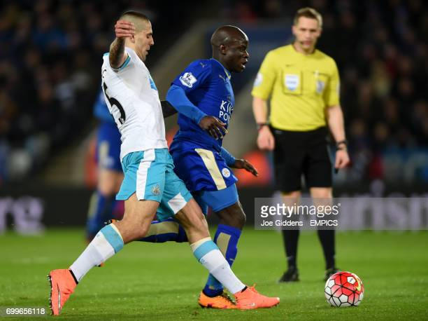 Newcastle United's Aleksandar Mitrovic and Leicester City's N'Golo Kante battle for the ball