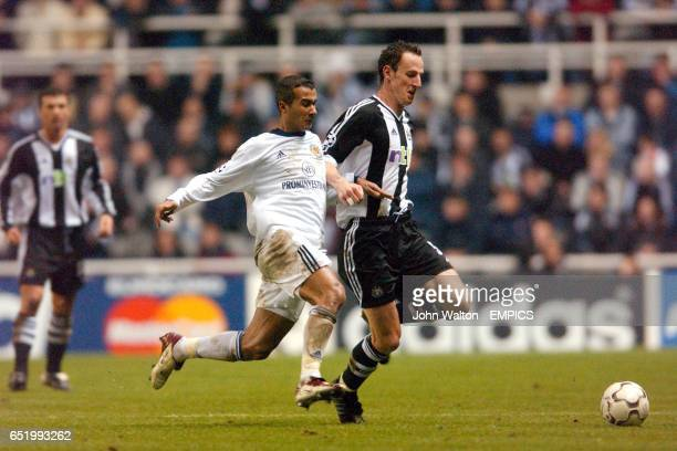 Newcastle United's Andy O'Brien is closed down by Dynamo Kiev's Badr El Kaddouri
