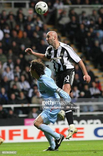 Newcastle United's Antoine Sibierski battles with Celta Vigo's Pablo Contreras during the UEFA Cup Group H match at St James Park Newcastle