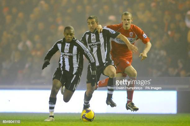 Newcastle United's Charles N'Zogbia and Sanchez Jose Enrique and Middlesbrough's David Wheater