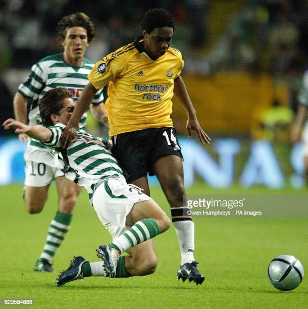 Newcastle United's Charles N'Zogbia battles with Sporting lisbon's Joao Moutinho