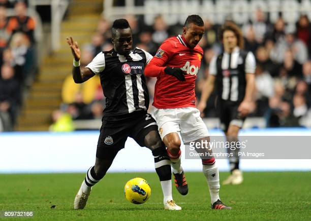 Newcastle United's Cheick Tiote and Manchester United's Luis Nani battle for the ball