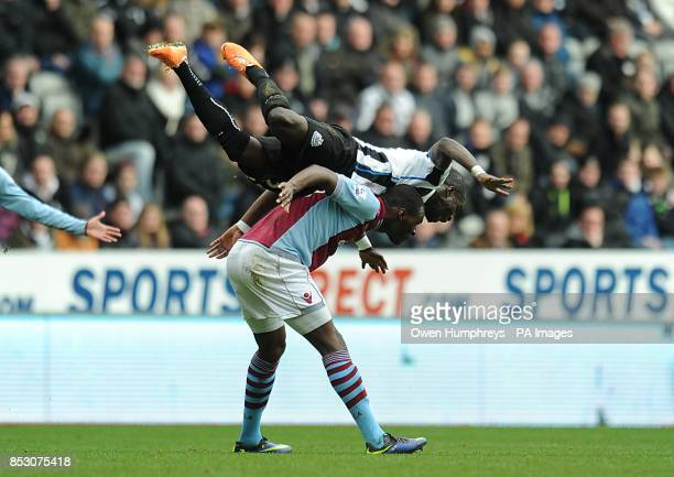 Newcastle United's Cheick Tiote goes over the top of Aston Villa's Christian Benteke
