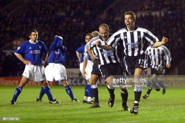 Newcastle United's Darren Ambrose celebrates scoring as Leicester players Callum Davidson and Billy McKinlay stand dejected
