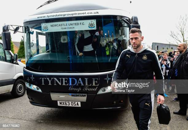 Newcastle United's Daryl Murphy arrives to St Andrews stadium for the Sky Bet Championship match between Birmingham City and Newcastle United at St...