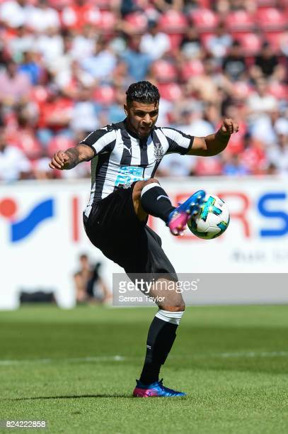 Newcastle United's DeAndre Yedlin controls the ball during the Pre Season Friendly match between FSV Mainz 05 and Newcastle United at Opel Arena on...