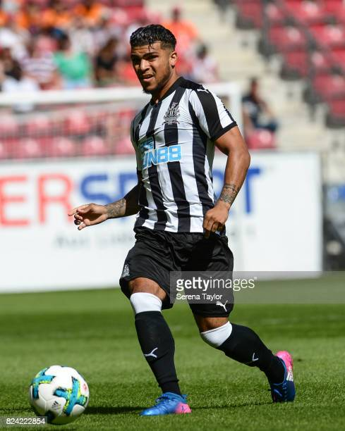 Newcastle United's DeAndre Yedlin passes the ball during the Pre Season Friendly match between FSV Mainz 05 and Newcastle United at Opel Arena on...