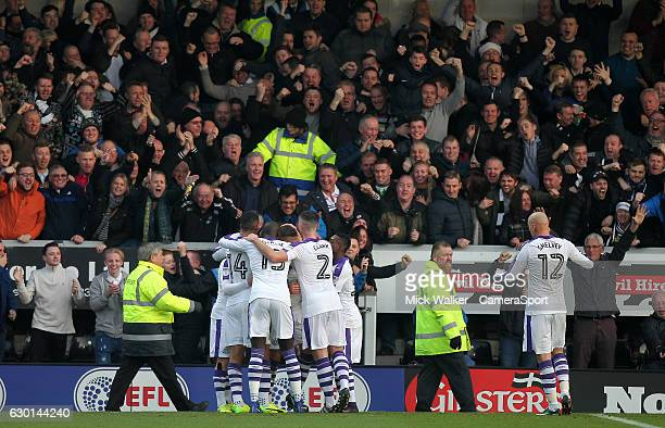 Newcastle United's Dwight Gayle celebrates scoring his sides first goal in front of the fans during the Sky Bet Championship match between Burton...