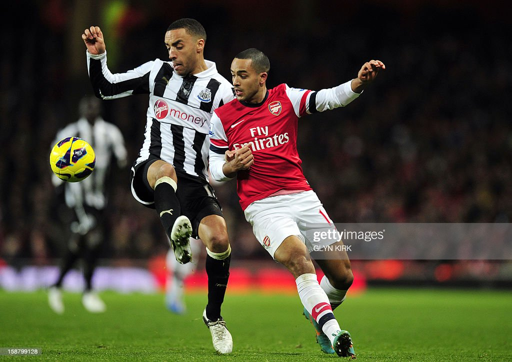 "Newcastle United's English defender James Perch (L) vies with Arsenal's English striker Theo Walcott (R) during the English Premier League football match between Arsenal and Newcastle United at The Emirates Stadium in north London, England on December 29, 2012. Arsenal won the game 7-3. USE. No use with unauthorized audio, video, data, fixture lists, club/league logos or ""live"" services. Online in-match use limited to 45 images, no video emulation. No use in betting, games or single club/league/player publications."
