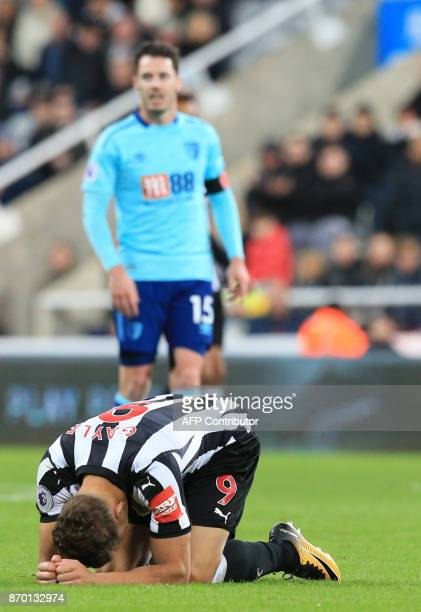 Newcastle United's English forward Dwight Gayle reacts after losing the English Premier League football match between Newcastle United and...