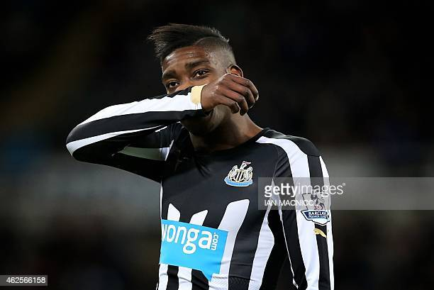 Newcastle United's English striker Sammy Ameobi reacts during the English Premier League football match between Newcastle United and Southampton at...