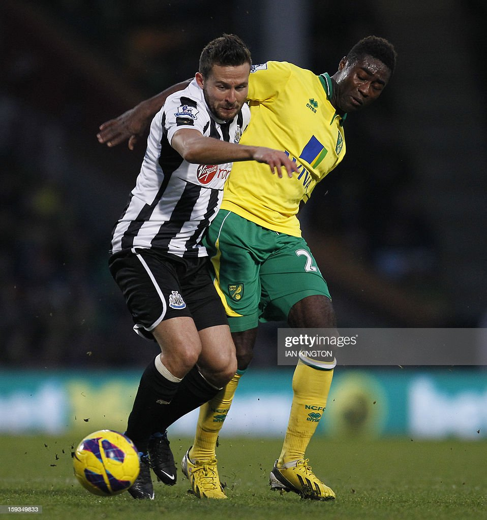 "Newcastle United's French midfielder Yohan Cabaye (L) vies with Norwich City's Norwegian midfielder Alexander Tettey (R) during the English Premier League football match between Norwich City and Newcastle United at Carrow Road in Norwich, eastern England, on January 12, 2013. USE. No use with unauthorized audio, video, data, fixture lists, club/league logos or ""live"" services. Online in-match use limited to 45 images, no video emulation. No use in betting, games or single club/league/player publications."