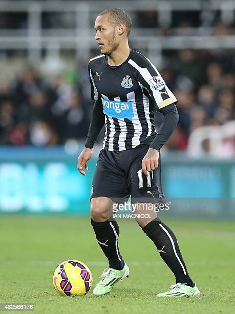 Newcastle United's French striker Yoan Gouffran on the ball during the English Premier League football match between Newcastle United and Southampton...