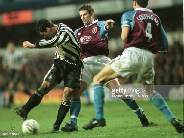 Newcastle United's Gary Speed shoots past Aston Villa's Simon Grayson and Gareth Southgate