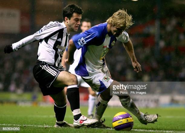 Newcastle United's Giuseppe Rossi and Blackburn Rovers' Michael Gray
