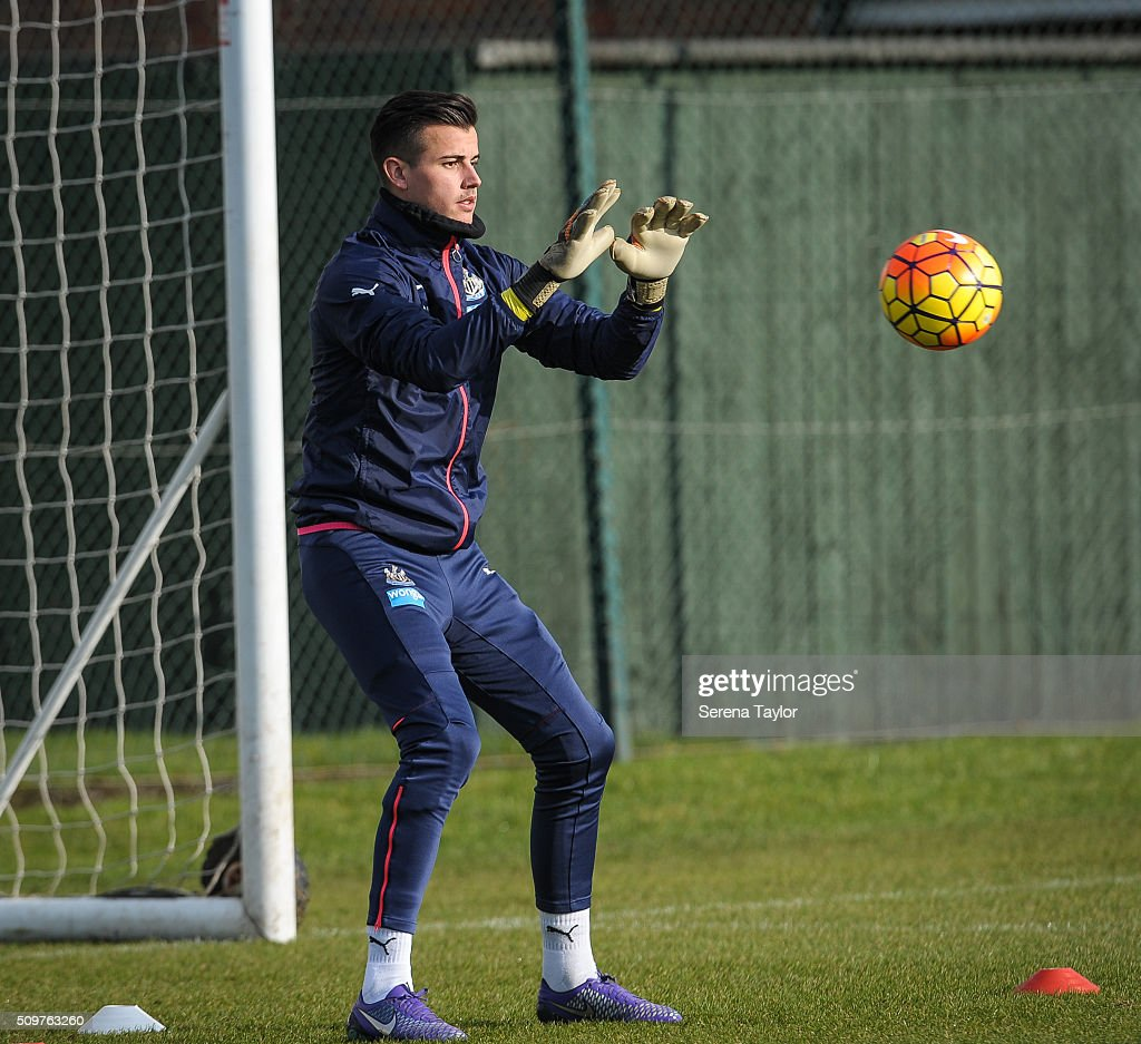 Newcastle United's Goalkeeper Karl Darlow catches the ball in the goalmouth during the Newcastle United Training session at The Newcastle United Training Centre on February 12, 2016, in Newcastle upon Tyne, England.