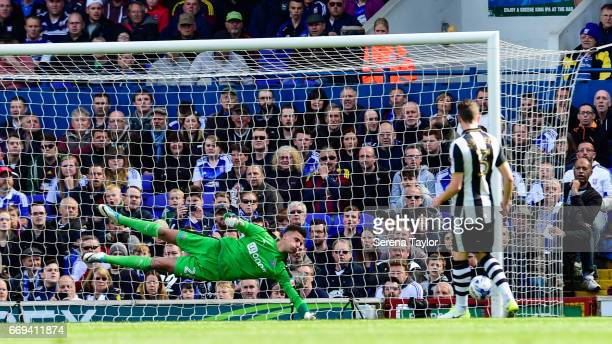 Newcastle United's Goalkeeper Karl Darlow dives to make a save from a disallowed goal during the Sky Bet Championship Match between Ipswich Town and...