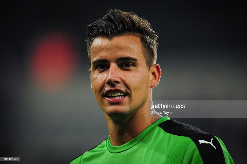 Newcastle United's Goalkeeper Karl Darlow during the EFL cup between Newcastle United and Cheltenham Town at StJames' Park on August 23 in Newcastle...