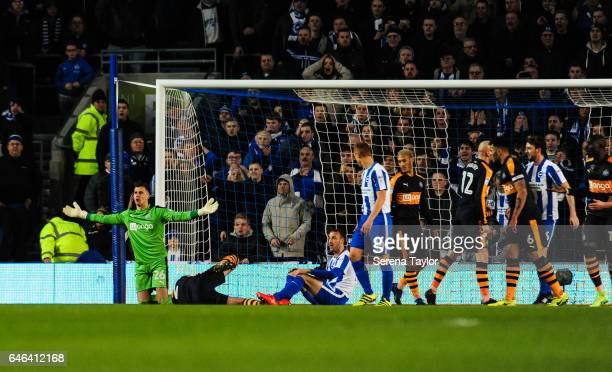 Newcastle United's Goalkeeper Karl Darlow gestures with his hands as the referee blows for a penalty during the Sky Bet Championship Match between...