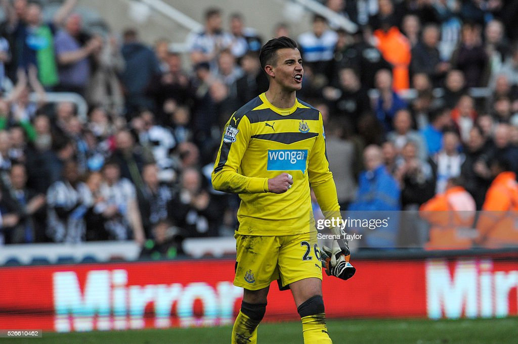 Newcastle United's Goalkeeper Karl Darlow is happy after winning the Barclays Premier League match between Newcastle United and Crystal Palace at St.James' Park on April 30, 2016, in Newcastle upon Tyne, England.