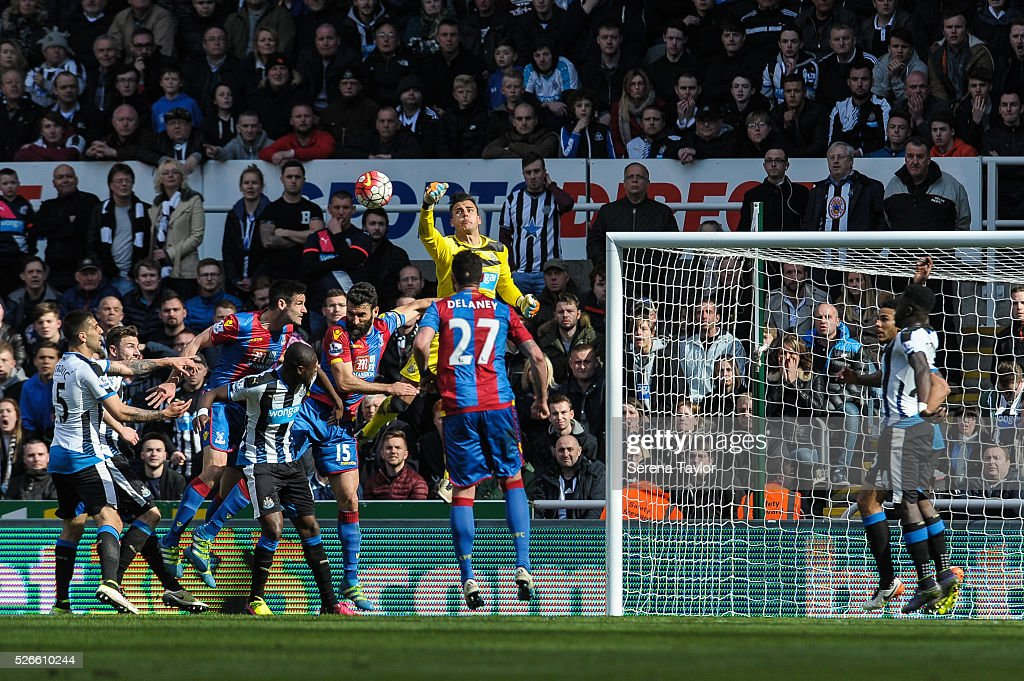 Newcastle United's Goalkeeper Karl Darlow jumps in the air and punches the ball clear during the Barclays Premier League match between Newcastle United and Crystal Palace at St.James' Park on April 30, 2016, in Newcastle upon Tyne, England.