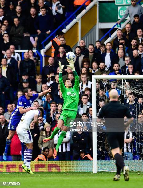 Newcastle United's Goalkeeper Karl Darlow jumps in the air to catch the ball during the Sky Bet Championship match between Birmingham City and...