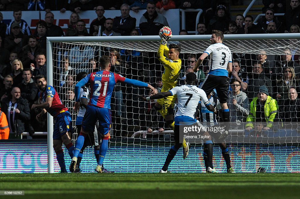 Newcastle United's Goalkeeper Karl Darlow jumps in the air to save the ball during the Barclays Premier League match between Newcastle United and Crystal Palace at St.James' Park on April 30, 2016, in Newcastle upon Tyne, England.