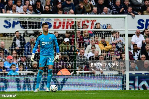 Newcastle United's Goalkeeper Karl Darlow looks to kick the ball during the Sky Bet Championship match between Newcastle United and Wigan Athletic at...