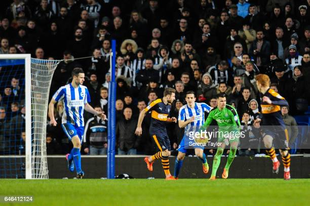 Newcastle United's Goalkeeper Karl Darlow looks to throw the ball into play during the Sky Bet Championship Match between Brighton Hove Albion and...