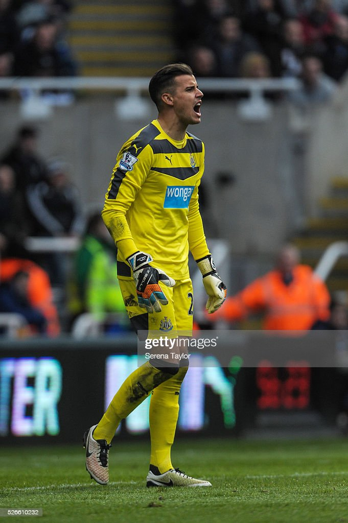 Newcastle United's Goalkeeper Karl Darlow shouts during the Barclays Premier League match between Newcastle United and Crystal Palace at St.James' Park on April 30, 2016, in Newcastle upon Tyne, England.