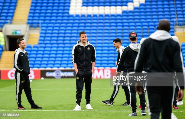 Newcastle United's Goalkeeper Karl Darlow stands on the pitch viewing Cardiff City Stadium prior to kick off of the Sky Bet Championship match...