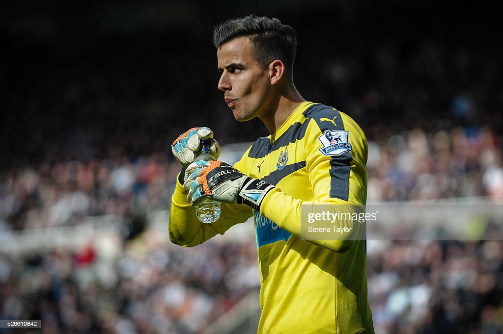 Newcastle United's Goalkeeper Karl Darlow takes a drink during the Barclays Premier League match between Newcastle United and Crystal Palace at St.James' Park on April 30, 2016, in Newcastle upon Tyne, England.