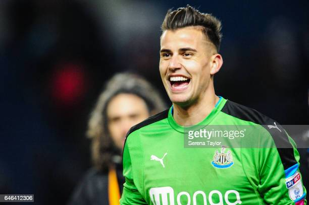 Newcastle United's Goalkeeper Karl Darlow walks off the pitch smiling as Newcastle win the Sky Bet Championship Match between Brighton Hove Albion...