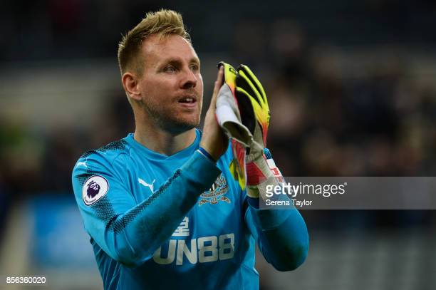 Newcastle United's Goalkeeper Rob Elliot claps the fans during the Premier League Match between Newcastle United and Liverpool at StJames' Park on...