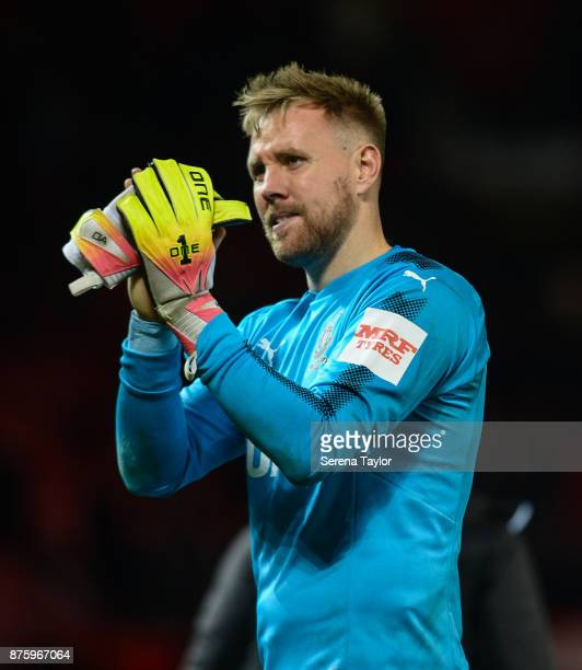 Newcastle United's Goalkeeper Rob Elliot claps the fans during the Premier League match between Manchester United and Newcastle United at Old...